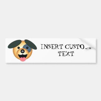 Round dog happy design bumper sticker