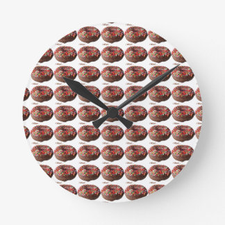 Round Donut Wall Clock Chocolate Sprinkles