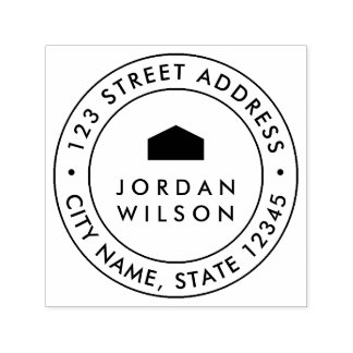 Round Double Border Modern House Return Address Self-inking Stamp
