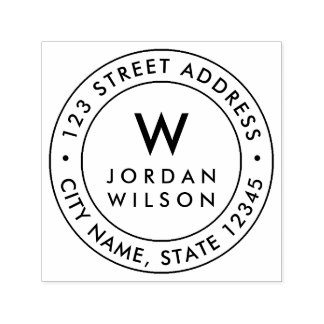 Round Double Border Modern Monogram Return Address Self-inking Stamp