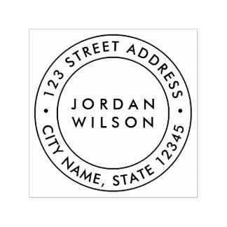 Round Double Border Modern Return Address Self-inking Stamp