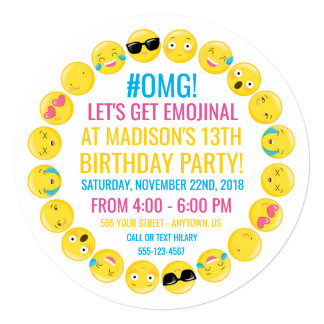 Round Emoji Birthday Party Invitation