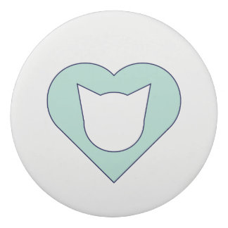 Round Eraser with Aqua-and-Blue Cat/Heart Cut-Out