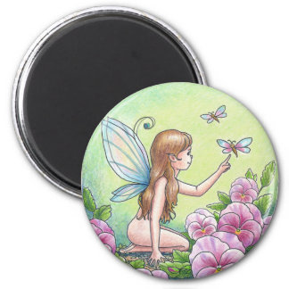 Round Fairy Magnet with Pink Pansies