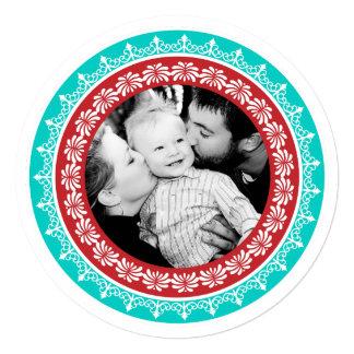 "Round Festive Holiday Photo Cards 5.25"" Square Invitation Card"