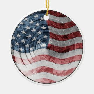 Round Flag Ceramic Ornament