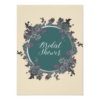 Round Floral Frame Bridal Shower Invitation