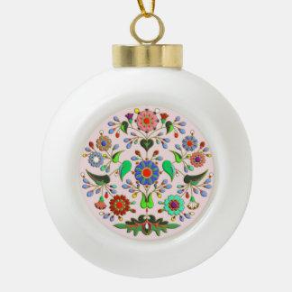 Round floral happy folk ornament