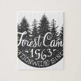 Round Forest Camp Vintage Jigsaw Puzzle