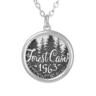 Round Forest Camp Vintage Silver Plated Necklace