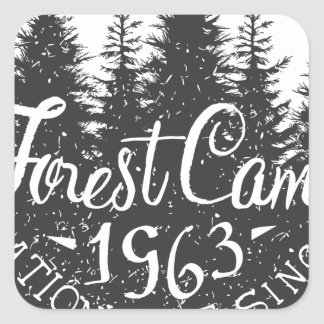 Round Forest Camp Vintage Square Sticker
