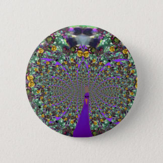 Round Fractal Peacock Button