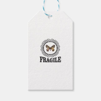 round fragile butterfly gift tags