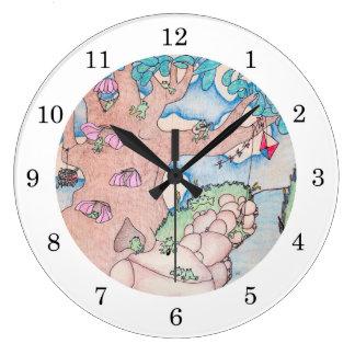 Round Froggy Treehouse Wall Clock