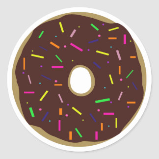 Round Frosted Chocolate Doughnut With Sprinkles Round Sticker