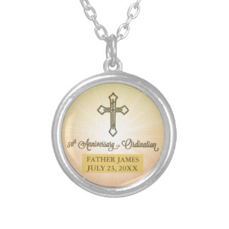 ROUND Gift, Custom Name Date,50th Ordination Anniv Silver Plated Necklace