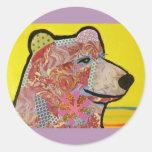 Round Glossy Sticker with Grizzly Bear Round Sticker