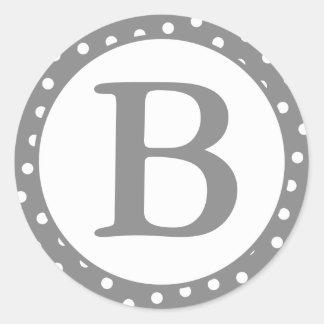 Round Gray & White Dots Envelope Seals w/ Monogram