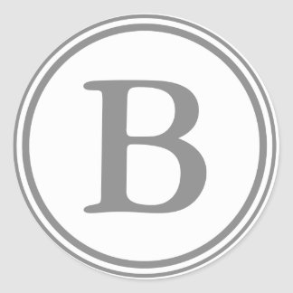 Round Gray & White Envelope Seals with Monogram