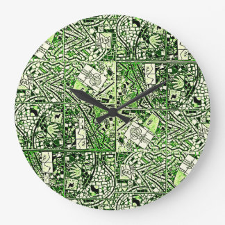 ROUND GREEN AND WHITE ABSTRACT CLOCK