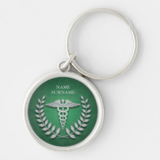 Round Green & Silver Medical Caduceus Personalized Silver-Colored Round Keychain