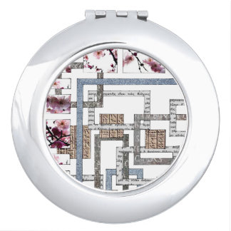 "Round handbag mirror ""Labyrinth and cherry tree "" Vanity Mirror"
