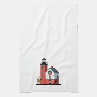 Round Island Lighthouse Christmas Towel