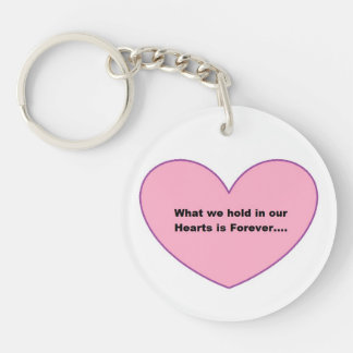 Round Key chain with a Pink Heart and a message