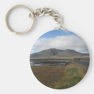 Round Key Ring With Distant Hills Picture Basic Round Button Keychain