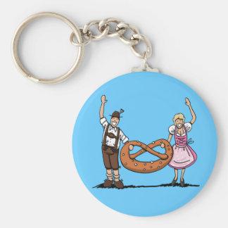 Round Keychain Oktoberfest Bavarian Couple Pretzel