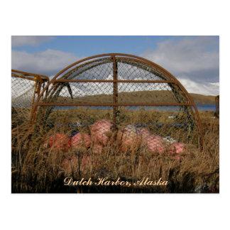 Round King Crab Crabpot, Dutch Harbor, Alaska Postcard