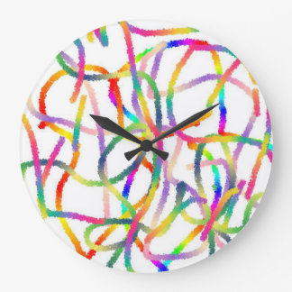 Round (Large) Wall Clock - Rainbow Color Lines