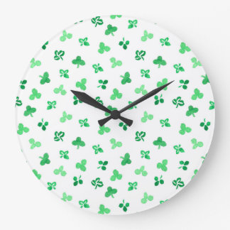 Round large wall clock with clover leaves