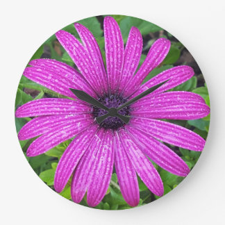 Round (Large) Wall Clock with Purple Flower Image