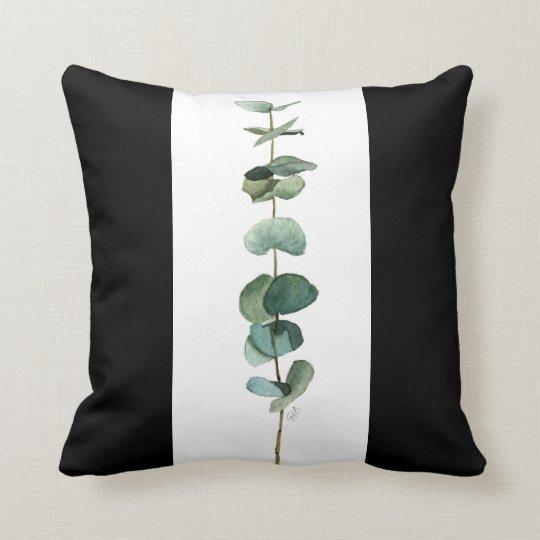 Round leaf eucalyptus watercolor art throw pillow