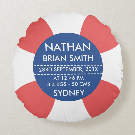 Round Life Bouy Birth Announcement Cushion
