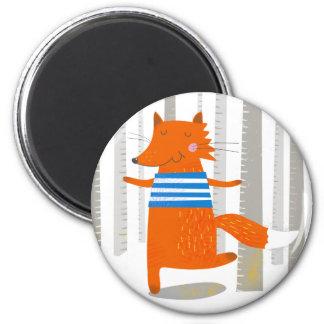 Round Magnet, Cute Fox Magnet