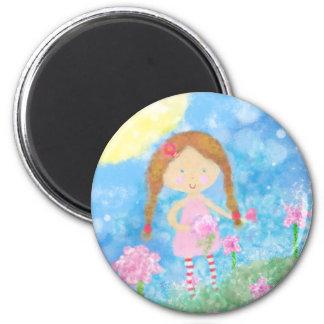 Round Magnet, Cute Girl 2 Inch Round Magnet