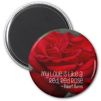 Round Magnet My Love Red Rose