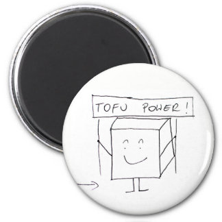 Round Magnet with Tofu, for Vegan or Vegetarian.