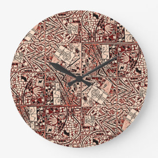 ROUND MAHOGANY BROWN ABSTRACT CLOCK