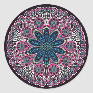 Round Mandala With Mauve Classic Round Sticker