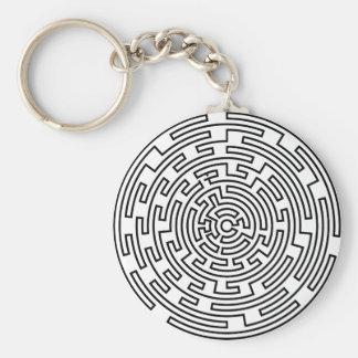 Round Maze Basic Round Button Keychain