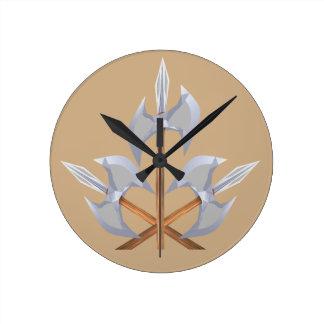 Round (Medium) Wall clock Crossed Battle Axes