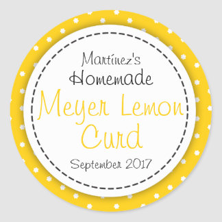 Round Meyer Lemon Curd jam jar food label
