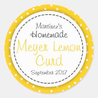 Round Meyer Lemon Curd jam jar food label Round Sticker