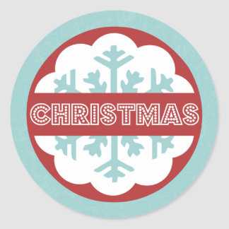 Round Modern Blue Merry Little Christmas Classic Round Sticker