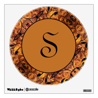 Round Monogram Modern Autumn Colors Wall Sticker