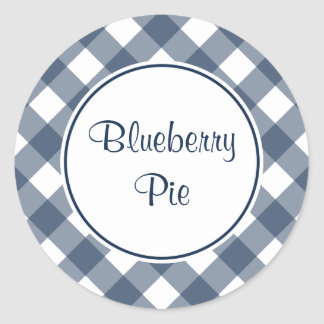 Round Navy Gingham Kitchen Stickers