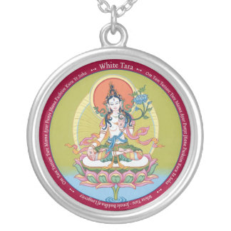 Round Necklace - White Tara - Silver Plated
